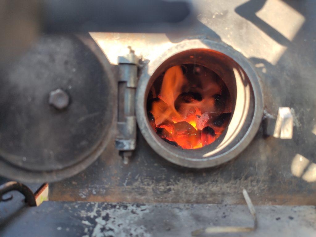 Feuer in der Feuerbüchse der BR80